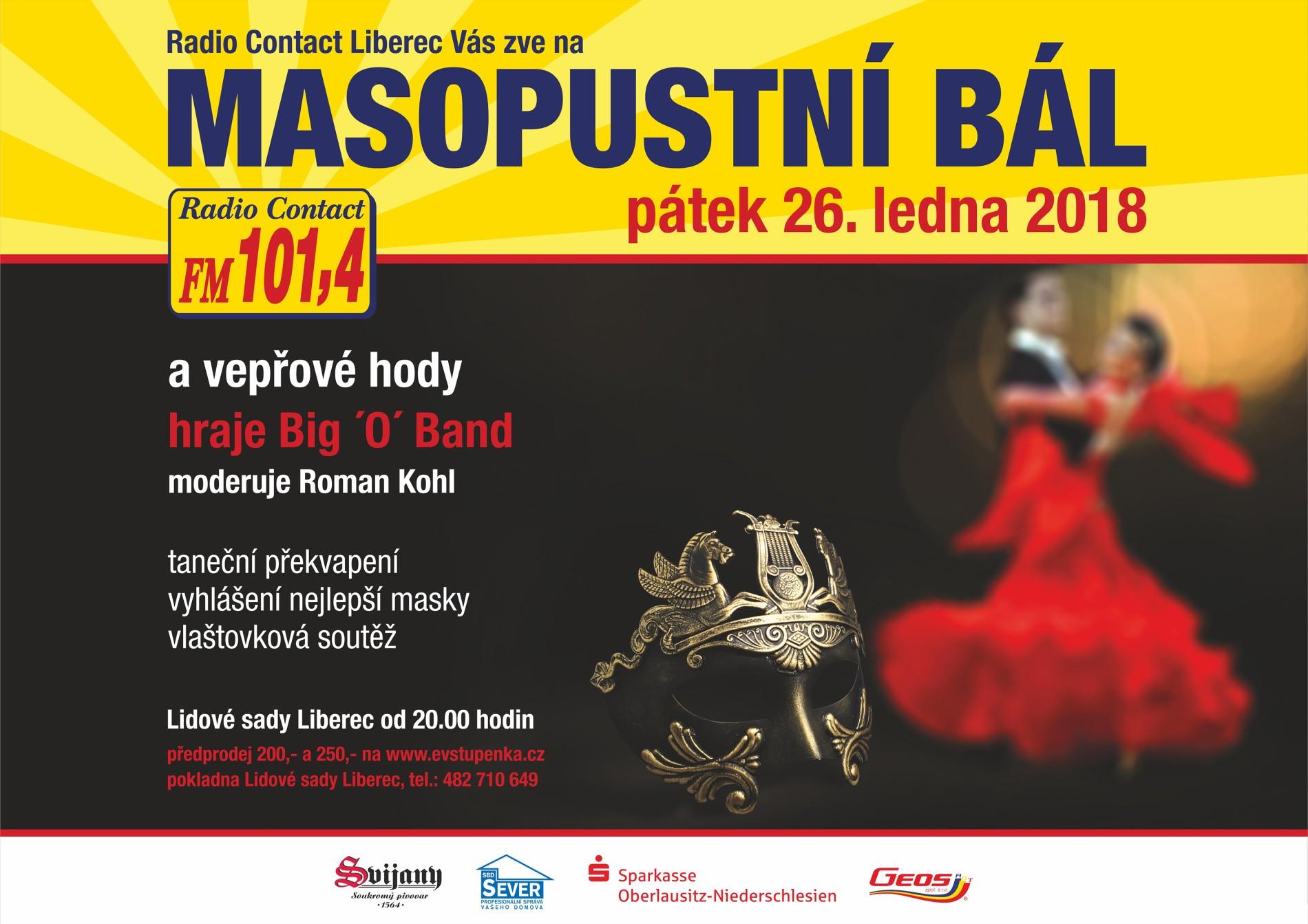 MASOPUSTNÍ BÁL RCL, Radio Contact Liberec uvádí: